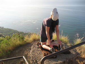 Camel Pose at top of Diamond Head Hawaii