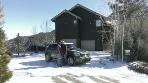 Toni & Doug  New home, new Mini in the snow