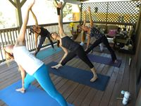 my first mini yoga retreat Cindy Kotler's deck 8-16-2014